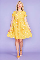 Bam Mustard Polka Dot Dress