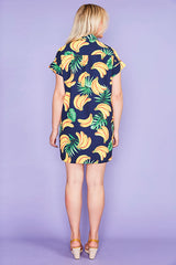 Frances Banana Print Shirt Dress
