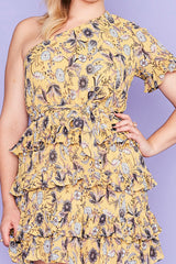 Obvious Mustard Floral Dress
