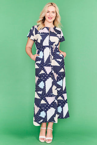 Gina Navy Geo Print Maxi Dress