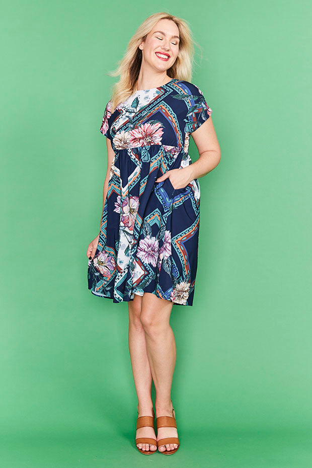 Bam Navy Floral Dress