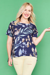 Serena Navy Leaf Top