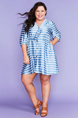 Somebody Blue Stripe Dress