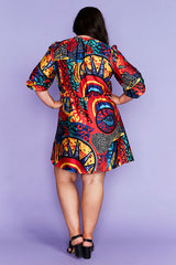 Somebody Abstract Print Dress
