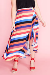 Corinne Stripe Wrap Skirt