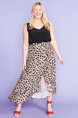 Corinne Animal Print Wrap Skirt