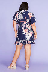 Sue Navy Floral Wrap Dress