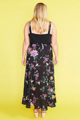 Corinne Black Floral Wrap Skirt