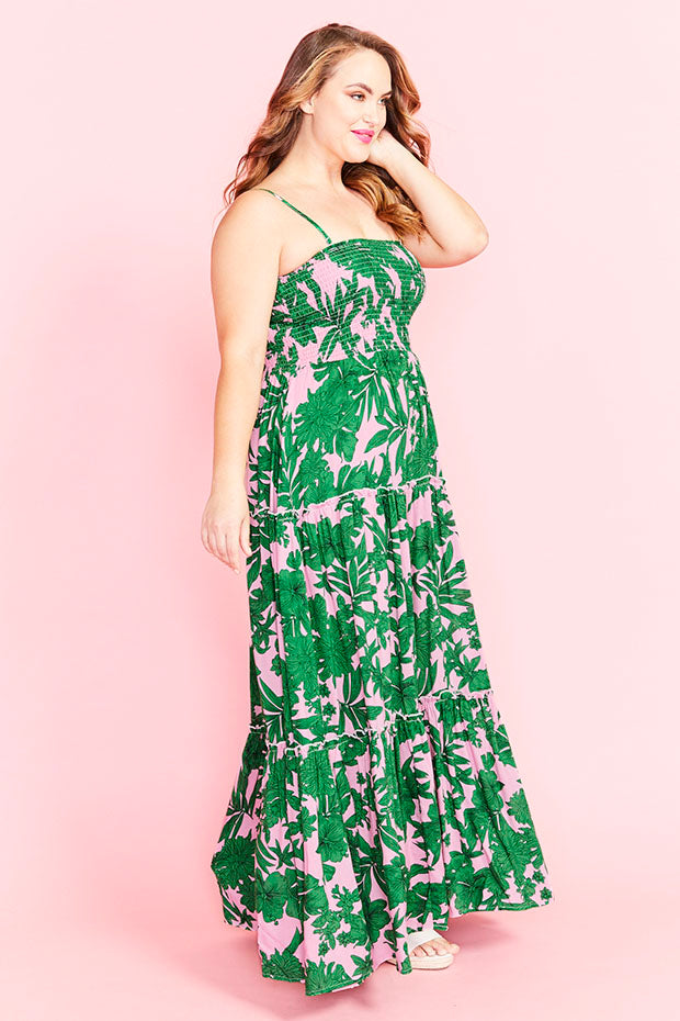 Marcella Pink Palms Maxi Dress
