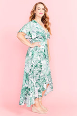Cate Palm Print Wrap Dress