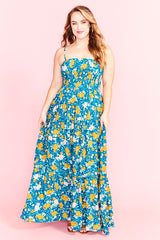 Marcella Teal Floral Maxi Dress