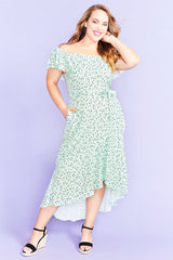 Never Ever Mint Floral Dress
