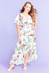 Cate White Floral Wrap Dress