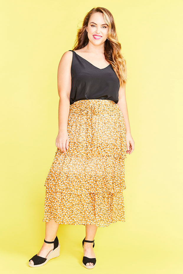 Faithful Yellow Floral Skirt
