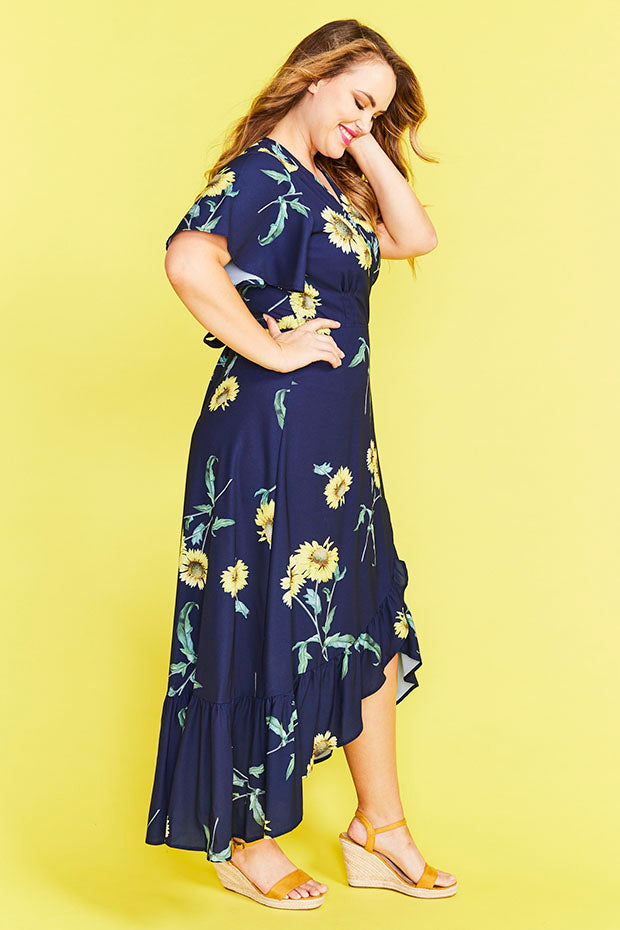 Cate Sunflower Wrap Dress