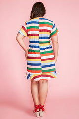 Gillian Rainbow Stripe Dress