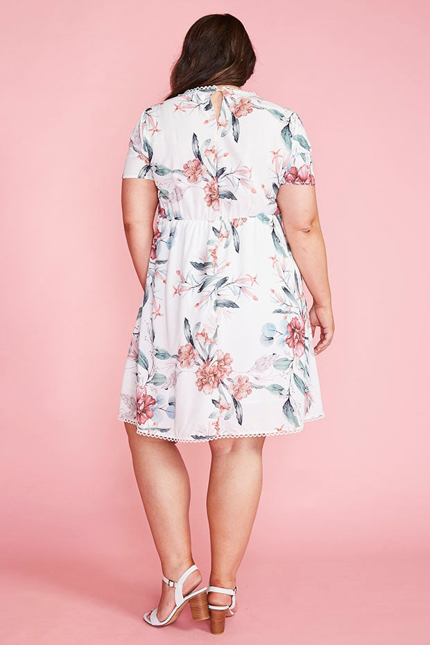 Duchess White Floral Dress