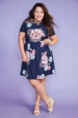 Duchess Navy Floral Dress