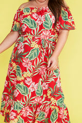 Escape Red Floral Dress