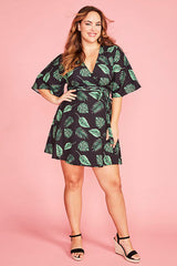 Desiree Leaf Print Wrap Dress