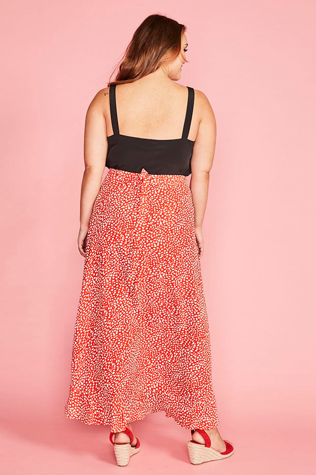Corinne Red Spots Wrap Skirt