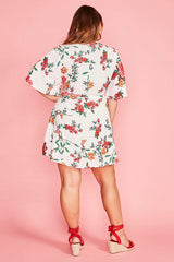 Desiree White Floral Wrap Dress