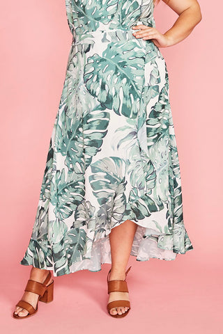 Corinne Palm Print Wrap Skirt