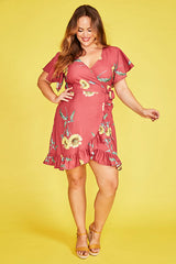Sue Sunflower Wrap Dress
