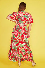 Cate Red Tropical Wrap Dress