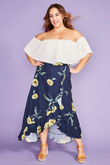 Corinne Sunflower Wrap Skirt
