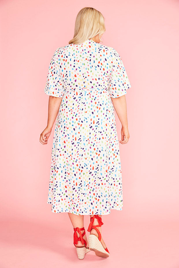 Mandy Confetti Print Wrap Dress