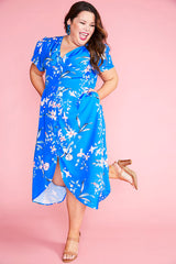 Rose Blue Floral Dress