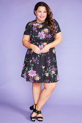 Duchess Black Floral Dress