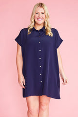 Frances Navy Shirt Dress