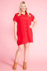 Frances Red Shirt Dress