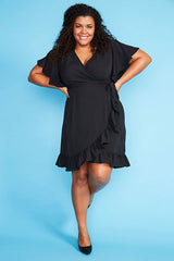 Sue Black Wrap Dress