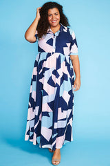 Audrey Navy Abstract Dress