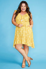 Josephine Mustard Polka Dot Dress