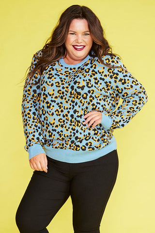 Downtime Blue Leopard Knit