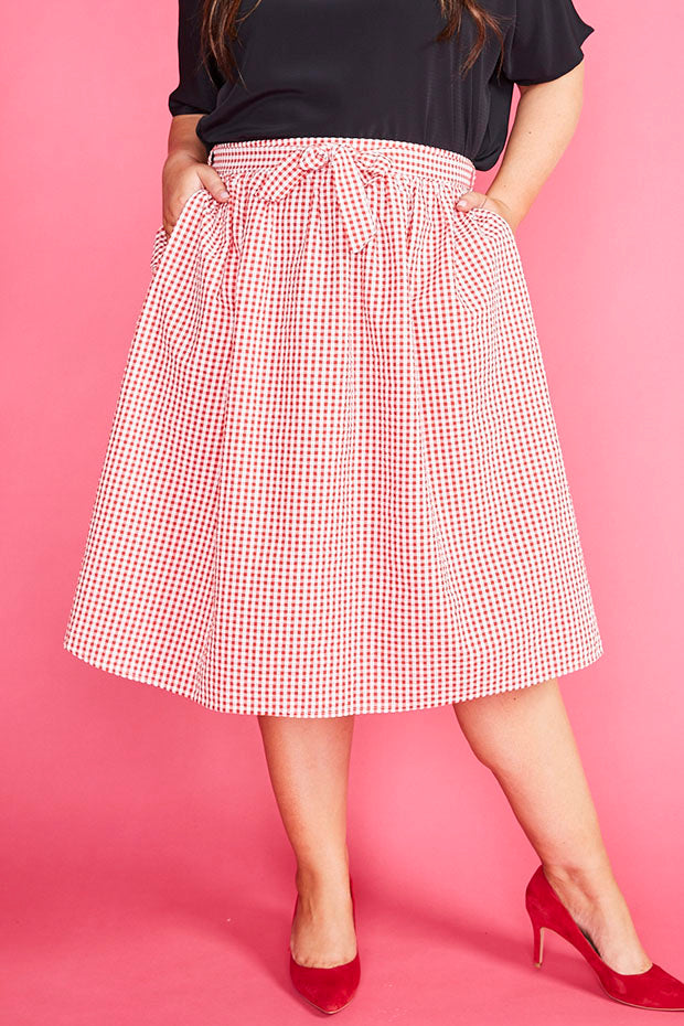 Country Charm Red Gingham Skirt