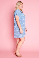 Frances Blue Floral Shirt Dress