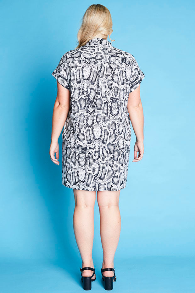 Frances Snake Print Shirt Dress