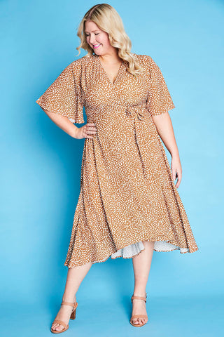 Mandy Tan Spots Wrap Dress