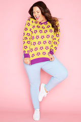 Downtime Purple Floral Knit