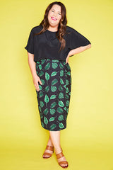 Samantha Black Leaves Wrap Skirt