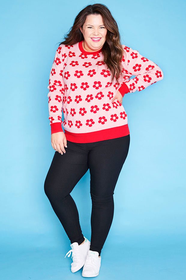 Downtime Red Floral Knit