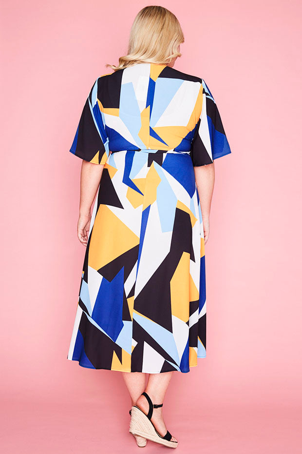 Mandy Geo Print Wrap Dress