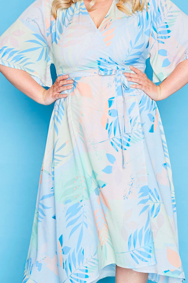 Mandy Pastel Leaves Wrap Dress