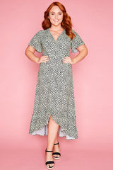 Cate Green Print Wrap Dress