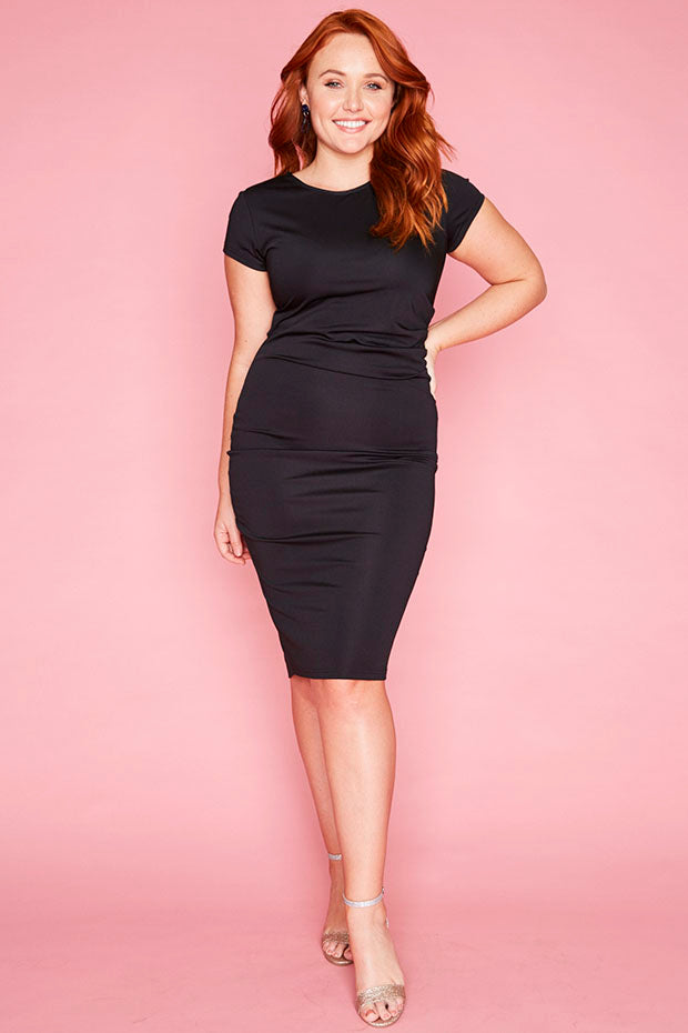 Francesca Black Midi Dress